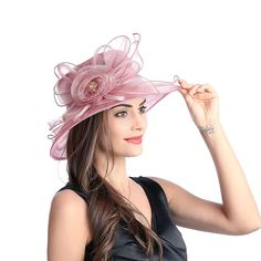 Women Sun Hat Floral Wide Brim Flat Top Hat Elegant Derby Hat Church Hat for Party or Outgoing Travel Rose Red