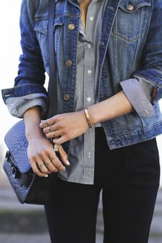 Jean jacket over buttom down shirt. Black pants