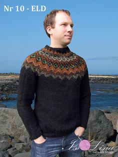 ELD - Icelandic Sweater in lopi light - No 10 pattern by Lin.- ELD – Icelandic Sweater in lopi light – No 10 pattern by Lina Olofsson Ravelry: ELD – Icelandic Sweater in lopi light – No 10 pattern by Lina Olofsson - Fair Isle Knitting Patterns, Fair Isle Pattern, Nordic Sweater, Men Sweater, Knit Sweaters, Icelandic Sweaters, Cardigan Pattern, Sweater Design, Knit Fashion