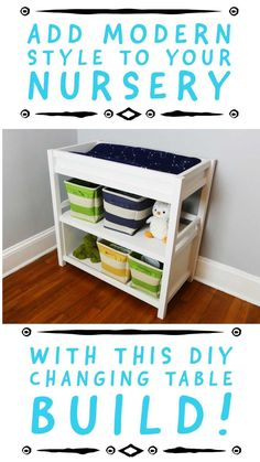 Looking for a quick and great looking Modern DIY Changing Table you can build in a weekend? Check out this great build for your nursery project! Kids Bedroom Furniture, Diy Furniture Projects, Woodworking Furniture, Handmade Furniture, Diy Woodworking, Diy Projects, Furniture Making, Diy Changing Table, Inexpensive Furniture