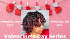 Valentines Day Inspired Styles| Twist & Curl with Temporary Hair Color Twist Curls, Temporary Hair Color, Natural Hair Tutorials, Valentines Day, Crochet Necklace, Inspired, Inspiration, Style, Valentine's Day Diy