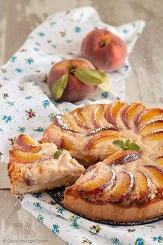 TORTA DI RICOTTA E PESCHE squisita cremosa ci vuole poco per stupire tutti #cibo #ricetta #pesche #dessert #dolce
