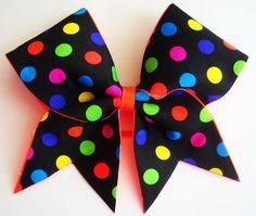 Rainbow polka dots Cheer Bows <3