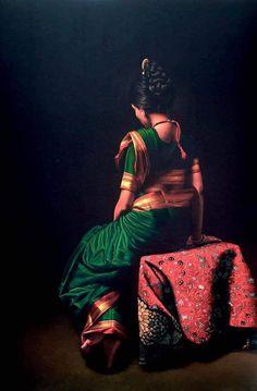 9 of 11 Indian Women Painting, Indian Art Paintings, Oil Paintings, Watercolor Paintings, Famous Artists Paintings, Realistic Paintings, Pencil Painting, Pencil Art, Vincent Van Gogh