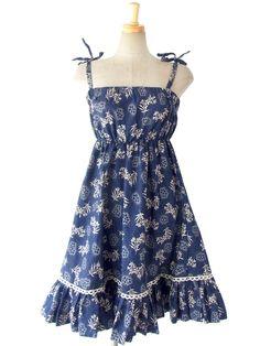 ヨーロッパ古着 ロンドン買い付け 60年代製 ブルー X ホワイト 花柄 ヴィンテージ ストラップ ワンピース 15BS238