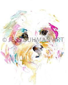 "Print of Watercolor Painting ""Mrs. Sophie"" 8 x 10 Print of Watercolor Painting Pink Fuschia Yellow Westie Dog Custom Pet Portrait"