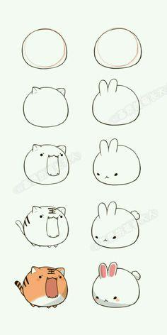 Pasos para dibujar un tigre y un conejo kawaii