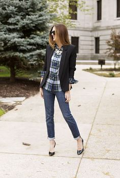 Make your flannel less casual by wearing it under a blazer and adding a statement necklace.