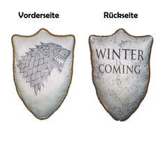 Game of Thrones Stark - Winter is coming - Schattenwolf Kissen (Ned, Arya, Robb)