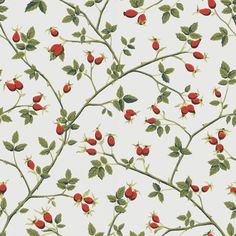 Late summer's splendour provides the inspiration for this classic wallpaper. Rose hips, the fruit of the rosebush, give a mature but modern look works well both in a kitchen, and in a elegant living room.