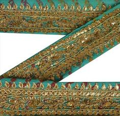 Antique-Vintage-Saree-Border-Hand-Beaded-Bandhani-Craft-Trims-Lace-2-W-1-Yard