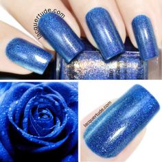 "FUN Lacquer: Spring 2014 Collection Swatches & Review | Lacquertude.com ""Dazzling Blue"" is a sapphire blue holographic that exudes an air of elegance, reminding me of dewy blue roses :)"