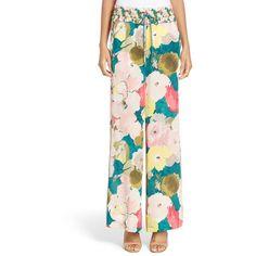 Women's Lafayette 148 New York Floral Pajama Pants ($498) ❤ liked on Polyvore featuring intimates, sleepwear, pajamas, tropic teal multi, pj pants, silk pajamas, silk pj pants, silk pjs and silk sleepwear