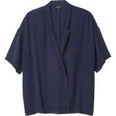 Monki Amelie blouse ($22) ❤ liked on Polyvore featuring tops, blouses, shirts, monki, t-shirts, nightstorm blue, oversized tops, shirts & blouses, collared blouse and oversized blouse