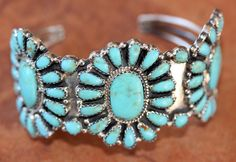 NativeIndianMade.com - Navajo Silver Turquoise Cluster Bracelet by LM Begay