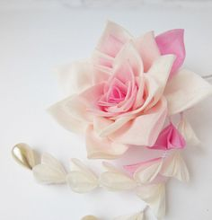 Pink Rose English Garden Tsumami Kanzashi