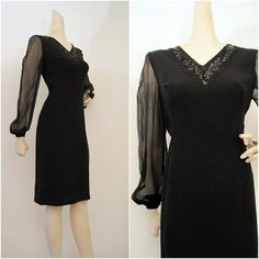 60s Dress Vintage LBD Sequin Beaded Chiffon from voguevintage on etsy.com  $55.00  VCAT
