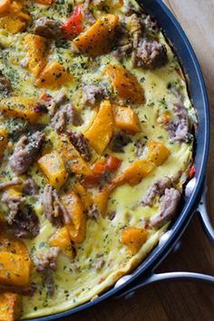 Sausage and butternut squash frittata is a perfect paleo breakfast, lunch or dinner.   cookeatpaleo.com