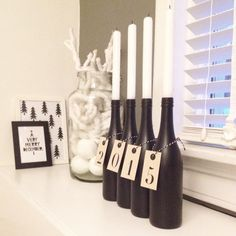 #DIY - welkom 2015! #jaarwisseling #oudennieuw #NYE #happynewyear Glass Bottle Crafts, Glass Bottles, Xmas Crafts, Diy And Crafts, Christmas Shopping, Christmas Diy, Deco Table Noel, Happy Hippie, Game Room Decor