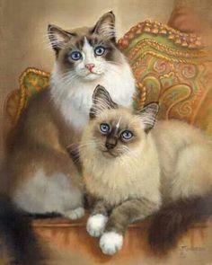 kedi ~ Beautiful paintings, see more at: http://finecats.spruz.com/