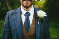 Rustic Wedding - Groom, Navy Three piece Suit, Tweed Waistcoat, Ted Baker Shirt