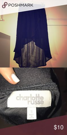Hi lo flowy skirt Chiffon type material! Elastic waist so very forgiving. Never ended up wearing Charlotte Russe Skirts High Low