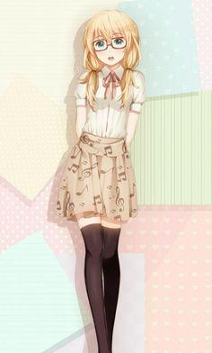 Miyazono Kaori Shigatsu wa Kimi no Uso so pretty Hikaru Nara, Miyazono Kaori, Blonde Anime Girl, Your Lie In April, Girls With Glasses, Manga Girl, Anime Girls, Anime Outfits, Anime Art