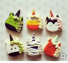 Awww I can't decide which one I love best? unicorn face cutter is the best! Halloween Cookies Decorated, Halloween Sugar Cookies, Halloween Sweets, Halloween Baking, Unicorn Halloween, Halloween Cakes, Halloween Birthday, Decorated Cookies, Thanksgiving Cookies