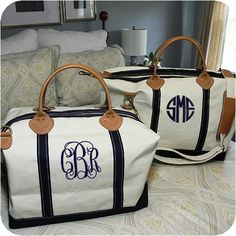 "New initials please! :) SNM  Preppy Monogrammed Weekender Bag ($75). Measures 15"" x 28"" x 10"". Ships in 1-2 weeks. ($5)"