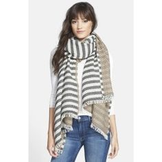 A fringed wool scarf doubles its pairing possibilities with neutral-hued stripes on both sides. Color (s) : black/ multi. Brand: Tory Burch. Style Name: Tory Burch 'Tory' Striped Wool Scarf. Style Num