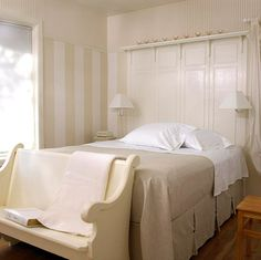 Install High Wainscoting Behind Your Bed And Top It With A Bought Shelf