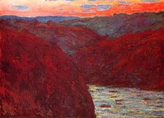 """Claude MONET """"La Creuse, soleil couchant""""-great example of Monet just painting what he sees. Beautiful!"""