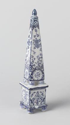 Dutch Delft obelisk. De Metaale Pot,  Lambertus van Eenhoorn, marked LVE D.S./ 1 1/2. Height: 25 cm., ca. 1690-1720 Jeroen PM Hartgers