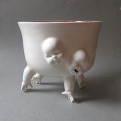 Large Standing Bowl w/Hands and Faces by SusanKniffinDavidson, $210.00
