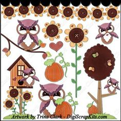 Autumn Owls 2 Clip Art - Original Artwork by Trina Clark