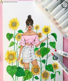 #Repost from @rongrong_devoe_illustration with @regram.app   ...   This weekend, I picture myself getting lost in a sunflower field  (of course not gonna bring my phone!) Thank you SO much @shinhanart for sending me these awesome brush tip markers, they are my new favorite! So easy to use and bring me right back to sketch mood from vacation  #sunflowers #sunflower #fashionillustration #fashionillustrator #rongrongdevoe #fashionsketch #fashiondrawing #illustrator #illustration #