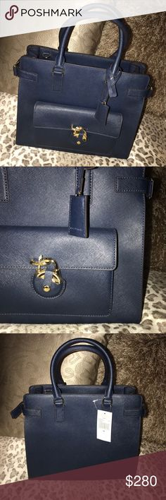 Michael Kors Handbag This is a brand new, never used Michael Kors Handbag! It is a beautiful navy blue leather with gold accents. The interior features several pockets and a center zipper compartment and offers a handle and strap for multiple carrying options. Michael Kors Bags Totes