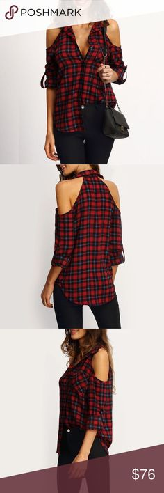 Cold Shoulder Red Plaid Flannel Button Front Shirt Cute red plaid, perfect for the season, cozy flannel, and a chic cold shoulder design. Spread collar, button front. Pair with leggings and boots for a cozy look with style. True to size, relaxed fit, order a size up for a looser fit.  Sizes XS, S, M, L, XL/1X, XXL/2X  ❌ Sorry, no trades.  fairlygirly fairlygirly Tops Button Down Shirts