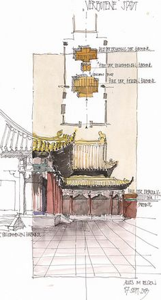 Ideas for visually documenting Architecture Concept Drawings, Watercolor Architecture, Chinese Architecture, Architecture Art, Model Sketch, Building Sketch, Artist Sketchbook, Urban Sketchers, Watercolor Drawing