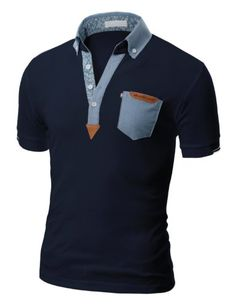 Doublju Mens Polo T-shirts with Short Sleeve - chambray & suede detailing Mens Polo T Shirts, Le Polo, Well Dressed Men, Shirt Outfit, Shirt Style, Men Dress, Casual Shirts, Shirt Designs, Cool Outfits