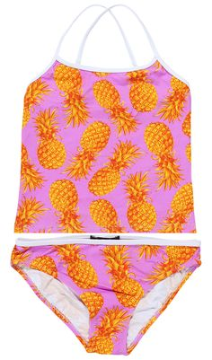 1826973bc5b47 Pineapple On Pink Tankini For Girls. Designed with Plump yellow pineapples  on neon pink tankini