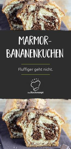 Banana ensures a great consistency and a particularly delicious taste in this marble cake. Because chocolate and banana are known to be a real dream team. Warning: This cake is addictive! Apple Breakfast, Free Breakfast, Nutella, Banana Chips, Marble Cake, Vegetable Drinks, Healthy Eating Tips, Macaron, Chip Cookies