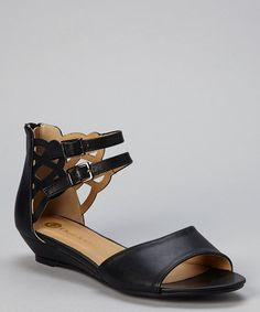 Look at this #zulilyfind! Black Madden Double-Strap Sandal by Chase & Chloe #zulilyfinds