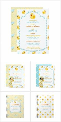 Rubber duck baby shower invitations with cute babies and rubber ducks. Easily customized for your event!