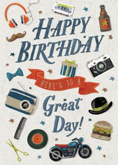 Andrew Smith - Hipster Icons Happy Birthday Male Dad Brother Son Andrew Smith Happy Birthday Gamer, Happy Birthday Male Friend, Happy Birthday Wishes For Him, Beautiful Birthday Wishes, Birthday Card Messages, Happy Birthday Pictures, Happy Birthday Greetings, Rock And Roll Birthday, Happy Birthday Illustration