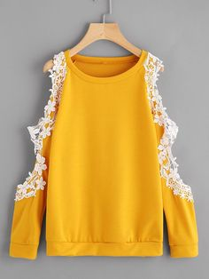 ROMWE offers Open Shoulder Lace Trim Sweatshirt & more to fit your fashionable needs. Girls Fashion Clothes, Teen Fashion Outfits, Girl Fashion, Fashion Dresses, Clothes For Women, Fashion Spring, Modest Fashion, Cute Comfy Outfits, Trendy Outfits