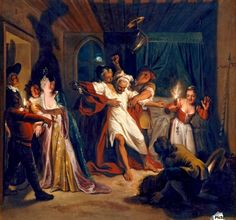 Don Quixote Fights the Wineskins - Charles-Antoine Coypel - Canvas