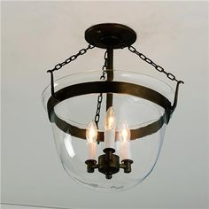 Smokebell Semi-flushmount Ceiling Lantern (3 finishes!)
