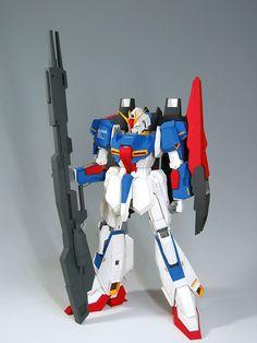 MSZ-006 Zeta Gundam Gundam Papercraft, Zeta Gundam, Paper Crafts, Model, Tissue Paper Crafts, Paper Craft Work, Scale Model, Papercraft