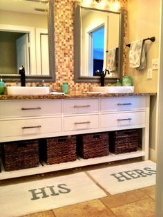 Cute his her bathroom - Love the rugs and basket idea!